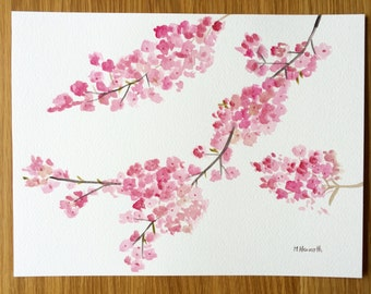 SALE Cherry blossom watercolour painting, Japanese flowers, pink flowers, floral painting 12 x 9 inches, one of a kind