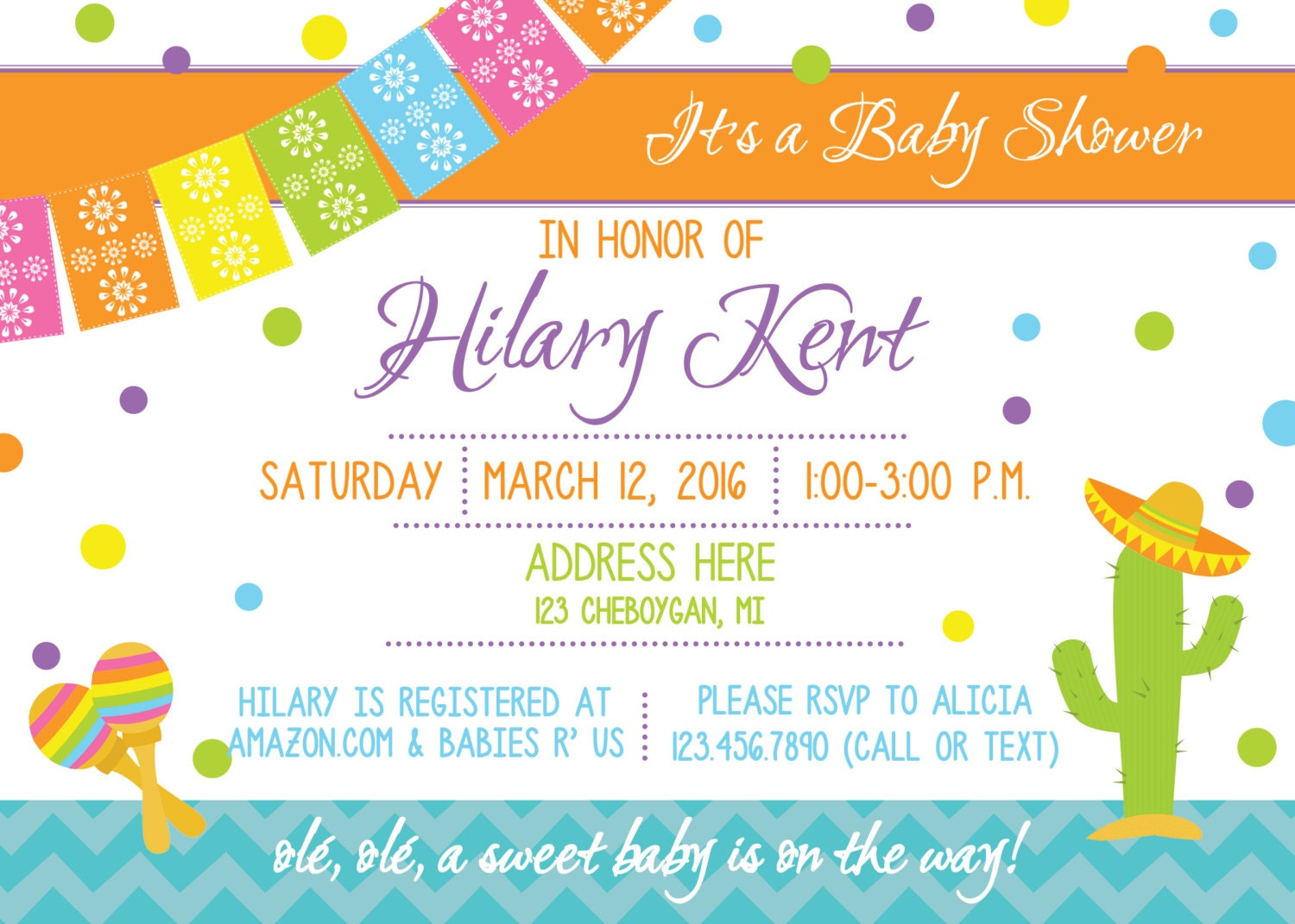 Fiesta Baby Shower Invitation, Gender Neutral Baby Shower, Co-Ed ...