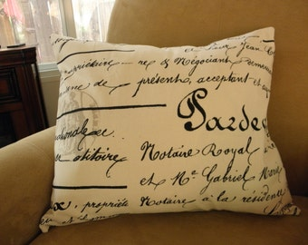 Big Sale !!! French Script,Black, Natural Cotton Pillow Cover 18x20