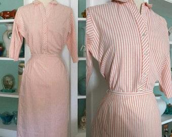 1960s Striped Set / Vintage 60s Pastel Orange Sherbet and White Evan Picone Blouse and Pencil Skirt Dress Set / Secretary / Bombshell- XS