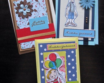 Set 2: Greeting Cards Set of 3 - Congratulations Cards, Birthday Cards, Blank Cards, hand-crafted
