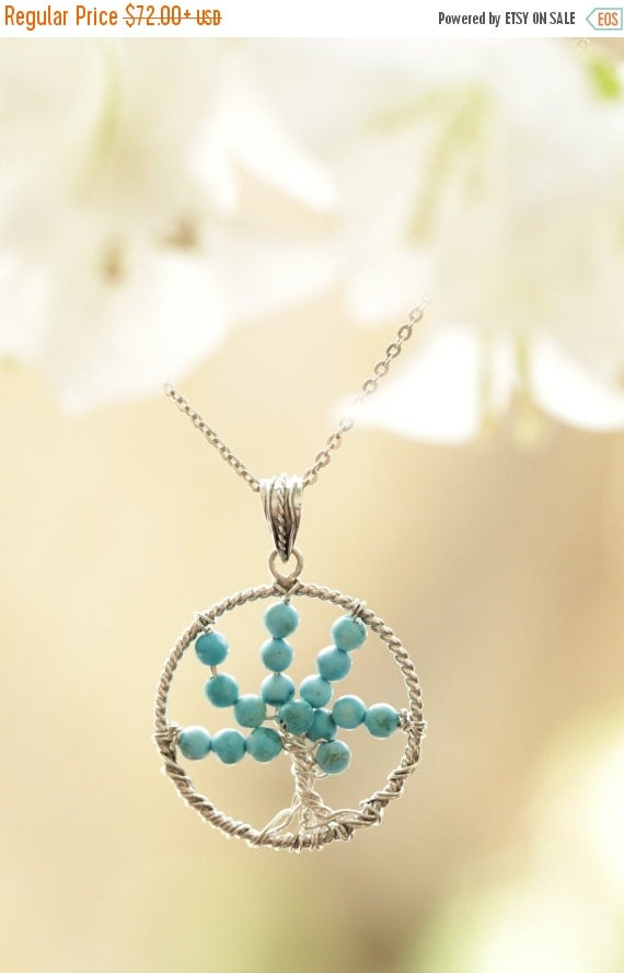 Tree of Life Necklace by Don Biu, Tree of life Pendant, Turquoise Necklace, Boho Necklace, Turquoise Jewelry, Gypsy Necklace