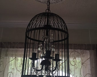 Shabby Chic Birdhouse Chandalier with hanging gems!!