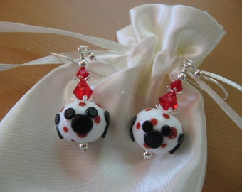 Mickey Mouse Earrings, Minnie Mouse Earrings, Disney Earrings, Disney Cruise, Red White Black Earrings, Lampwork Earrings, Handmade Lampwork