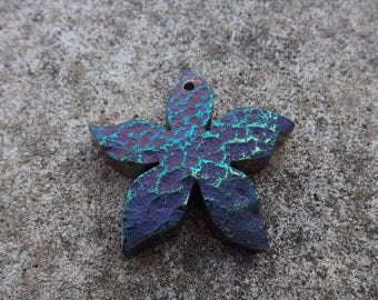Flower pendant , blue pendant, titanium coated, irridescent blue , purple pendant
