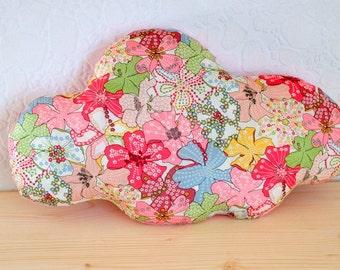 Coussin nuage liberty mauvey rose multicolore - décoration chambre bébé enfant salon