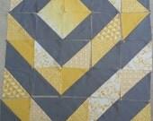 Grey & Yellow 'Around the World' quilt