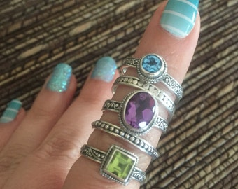 Beautiful Etched Sterling Silver Gemstone Stacking Rings Set of 5 Size 7
