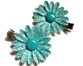 Blue Metal Flower Hair Clip Set Enamel Flower Alligator Clip Turquoise Blue and White Flower Barrettes Retro Speckled Aqua Flower Hairclips