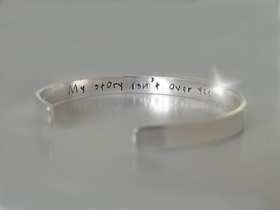 Sterling Silver Semicolon Bangle, My Story Isn't Over Yet Bangle, Survivor Bangle, Semicolon Jewellery, Silver Semicolon Cuff