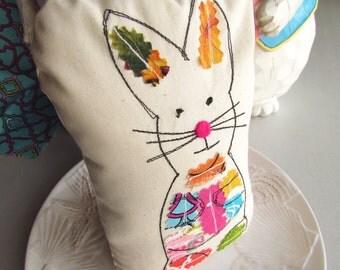 Bunny Pillow, Easter Pillow Shelf Sitter, Spring Rabbit Pillow, Bunny Book End, Patchwork Mix Media Shelf Sitter, Novelty Pillow, 3-D Art