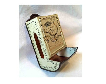 Wall Mounted Matchbox Holder and Dispenser - Tin, Rusty, Fish, Sausages, Birds, Mushrooms, Flowers - Farmhouse Style