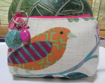 Small Floral Pink/Bird Zipper Coin Purse, Clutch, Wristlet, Pouch
