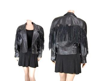 Medium Black Leather Fringe Jacket // Leather Motorcycle Jacket // E73