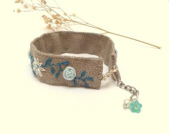 Hand embroidered, linen cuff, ecru, mint roses, floral, bracelet.
