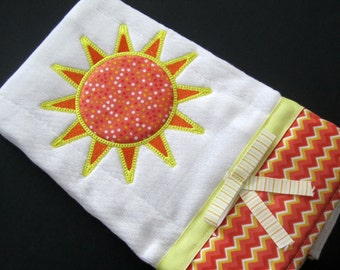 Sunshine Burp Cloth, Embroidered baby accessory, orange and yellow sun applique,  baby girl item, new baby gift