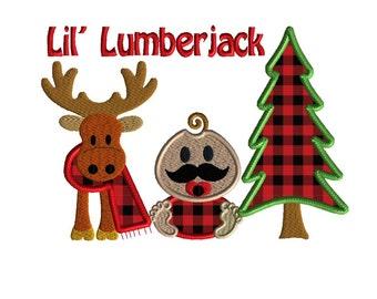 Lil Lumberjack applique, 2 size machine embroidery design