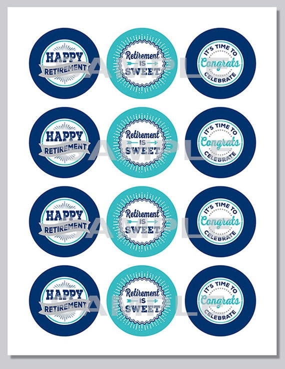 Retirement Cupcake Toppers, PRINTABLE, Navy and Turquoise ...