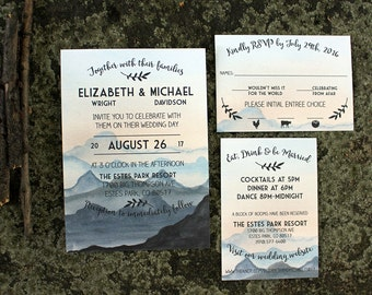 Watercolor Mountain Wedding Invitations : DCo Lovenotes