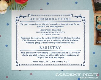 Wedding Details Insert, Printable Wedding Information and Accommodations Insert, Hotel Information Insert, Printable File