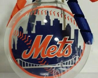 New York Mets Inspired Floating Glass Ball Christmas Ornament