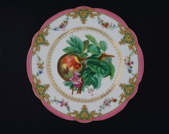Pair Old Paris Porcelain Peach and Bee Fruit Plates Marked H. BEZIAT PARIS - 19th Century, France