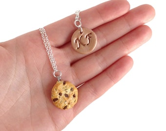 Initials Cookie Necklace - Personalized, food jewelry, chocolate chip
