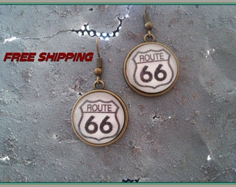 southwest route 66 earrings antique brass
