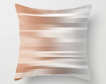 Pillow Cover - Cover Only - Burnt Orange to Silver Grey - Sofa Pillow Cover - Throw Pillow - Made to Order