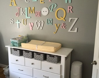 Nursery Letters Wall Decor   Wooden Alphabet Letters Set, PAINTED, Wall  Hanging, Nursery