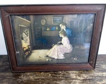 New Price Vintage Wood Framed Fireside Print