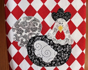 Chicken Kitchen Towel, Chicken Applique Towel, Kitchen Towel