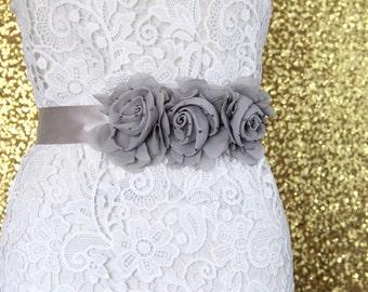 Gray Beaded  Flower Sash Belt , Gray Flower Sash, Bridal Sash, Bridesmaid Sash, Flower Gril Sash, Gray Sash Belt,Prom Belt