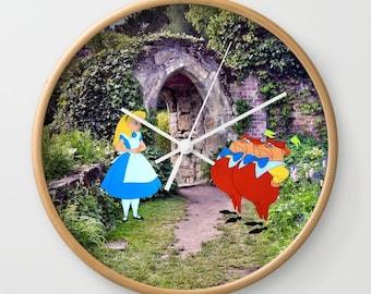 """10"""" Alice in Wonderland with Tweedledee and Tweedledum in the Garden Wall Clock"""