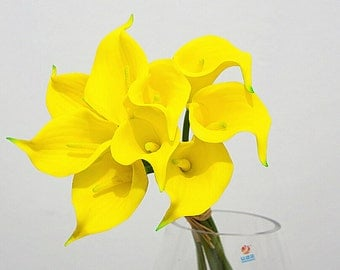 9pcs Yellow Calla Lily Real Touch Wedding Decorative Flowers For Wedding Bouquet Bridal Party Home Decoration