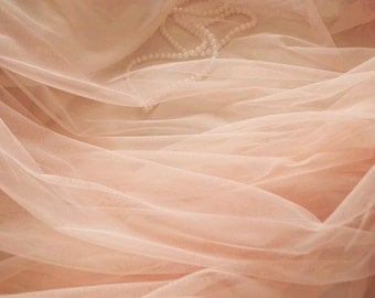 peach mesh Fabrics,  coral tulle fabric, Gauze fabric , wedding decors