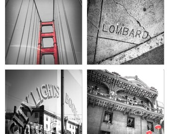 San Francisco Photography Black and White Print Set Red Golden Gate Bridge Northern California Lombard Street City Lights Urban Chinatown