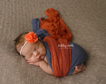baby headbands, photography prop, photo props, Orange Satin Mesh Flower Headband