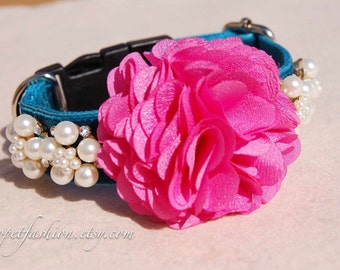 Modern dog collar,wedding dog collar.Birthday party dog collar. peacock blue with hot pink flower dog collar.pet gift, Pet Birthday gift