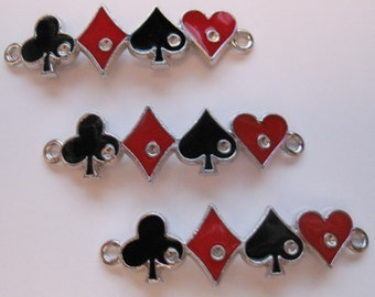 Card Suit Playing Cards-Bracelet/Charms Alice In Wonderland (3pcs)  C133