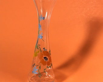 Floral bud vase, Glass, Hand blown, Flowers, 1970's