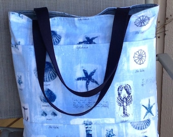 Great Blue tote/beach /Diaper every day /overnight bag Cotton