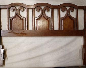"60""x42 Vintage Full Size SOLID Walnut Wood Wooden Headboard Head Board Bed Frame"