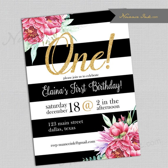 Black White and Floral Birthday Party Invitations, kate spade inspired birthday party, wedding or baby shower, 24 hr turnaround,