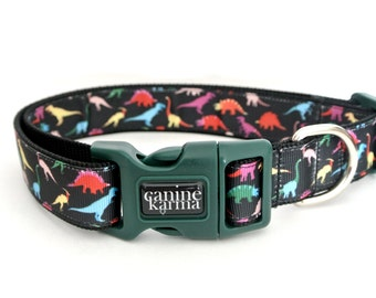 "Dinosaur Dog Collar - 1"" Adjustable Jurassic Prehistoric Collar"
