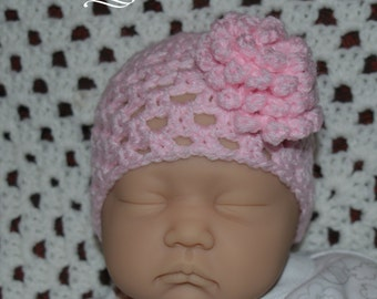 Pretty baby pink lacy crochet baby hat with flower, 0-3 months