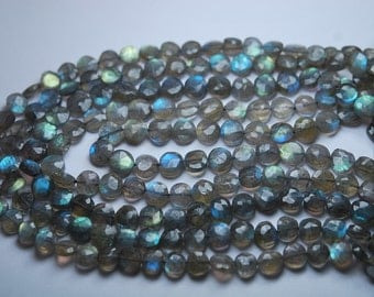 13 Inch Strand,Finest Quality,Blue Flashy Labradorite Faceted Coins Beads,8mm