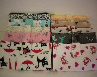 Fabric wallet with zipper compartment, 16 card slots, 2 hidden pockets - cats, dogs, fox