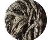 Hand dyed recycled sari ribbon -Dark Pewter: OOAK