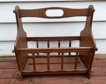 Vintage wooden magazine/newspaper holder (contact us for delivery quote)